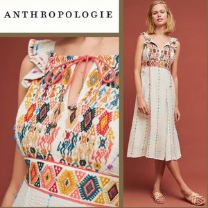 Anthropologie Llama Embroidered Dress 16